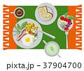 目玉焼きのイラスト。朝食。パンと卵料理のイラスト。 37904700