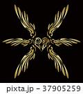 トライバル。翼と羽のエンブレム。タトゥーデザイン。 37905259