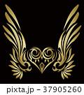 トライバル。翼と羽のエンブレム。タトゥーデザイン。 37905260