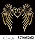 トライバル。翼と羽のエンブレム。タトゥーデザイン。 37905262