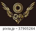 トライバル。翼と羽のエンブレム。タトゥーデザイン。 37905264