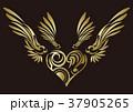 トライバル。翼と羽のエンブレム。タトゥーデザイン。 37905265