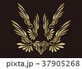 トライバル。翼と羽のエンブレム。タトゥーデザイン。 37905268