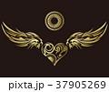 トライバル。翼と羽のエンブレム。タトゥーデザイン。 37905269