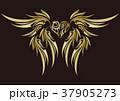 トライバル。翼と羽のエンブレム。タトゥーデザイン。 37905273