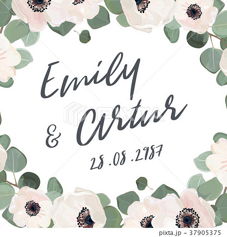 wedding invitation floral card elegant cute designのイラスト素材