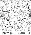 フローラル 白黒 ひるがおのイラスト 37908324