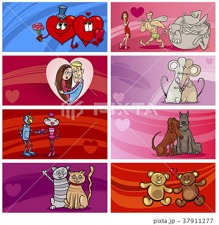 valentine cartoon greeting cards designs setのイラスト素材 37911277