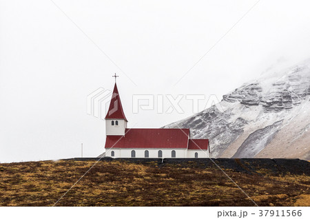 hilltop Church in Vik winter season, Iceland 37911566