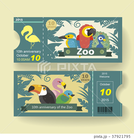 10th anniversary ticket design template for zooのイラスト素材