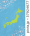 和紙の風合いを感じる日本地図 桜 37924677