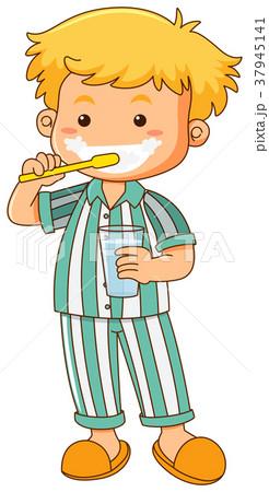 Little boy brushing teeth 37945141