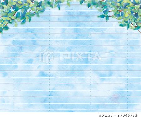 青葉と板塀の背景イラスト 37946753