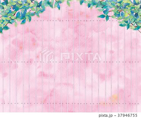 青葉と板塀の背景イラスト 37946755