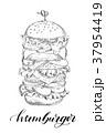 ハンバーガー バーガー スケッチのイラスト 37954419
