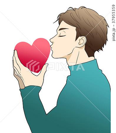 ハートにキスのイラスト素材