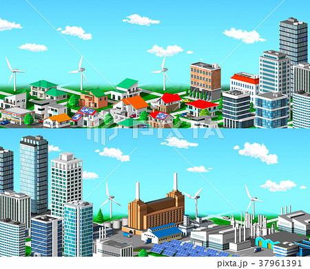 街並み 住宅 ビル 工場 分割 青空 37961391