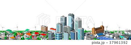 街並み 住宅 ビル 工場 連続 白バック 37961392