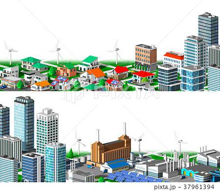 街並み 住宅 ビル 工場 分割 白バック 37961394