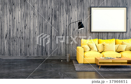 3D rendering of interior modern living room  37966651