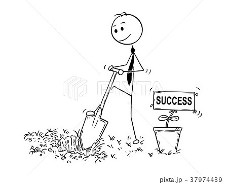 Cartoon of Businessman Digging a Hole for Plant 37974439