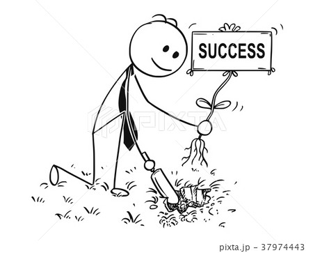 Cartoon of Businessman Digging a Hole for Plant 37974443