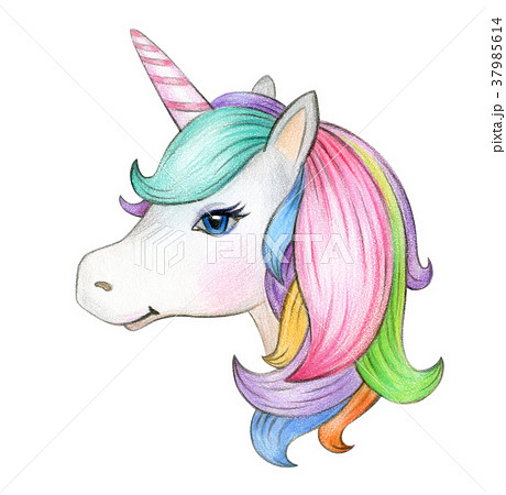 Cute Magic Unicorn Portrait Isolated On White のイラスト素材