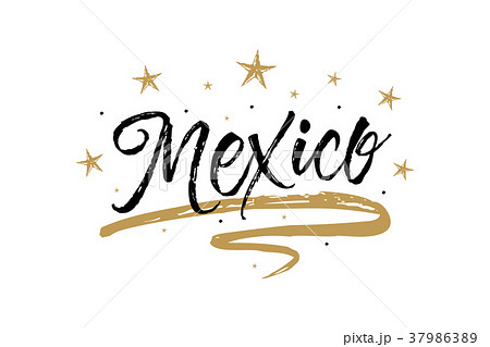 mexico name country word text card banner scriptのイラスト素材
