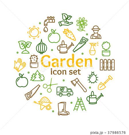 gardening signs round design template line iconのイラスト素材