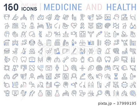 Set Vector Flat Line Icons Medicine and Health 37999195