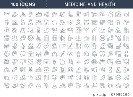 Set Vector Flat Line Icons Medecine and Health 37999196