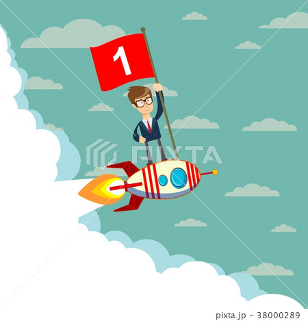 Happy businessman holding number one flag standingのイラスト