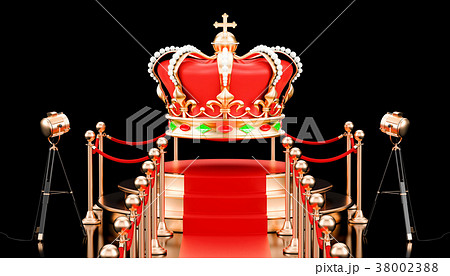 Podium with golden crown. Presentation of jewelry 38002388