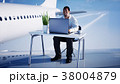 Young busy businessman working on the flying 38004879