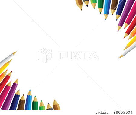 set of colored pencils on white backgroundのイラスト素材 38005904