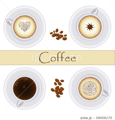 Collection of coffee cups. Top view. Vector 38006270