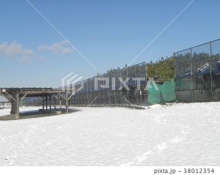 雪の日の稲毛海岸真っ白な風景 38012354
