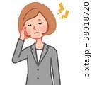女性 人物 頭痛のイラスト 38018720