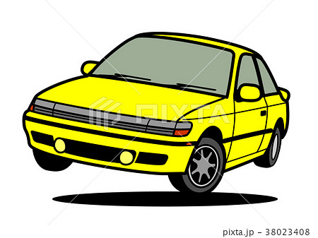 懐かしめ国産スポーツカー 黄色 ジャンプ 自動車イラスト 38023408