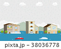 洪水 自然災害 街のイラスト 38036778