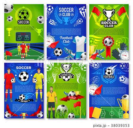 Soccer sport club poster with football team player 38039353