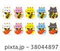 招き猫のイラストセット 38044897
