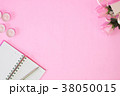 Notebook and pen with pink rose flower on pink. 38050015
