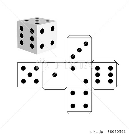 dice template model of a white cubeのイラスト素材 38050541 pixta