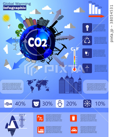Global warming infographic vector 38054531