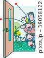 ドアを開く家族 38058122