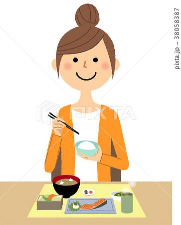 若い女性 ママ 食事 38058387