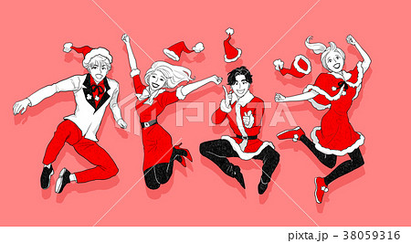 Christmas party concept with group of friends vector illustration 008 38059316