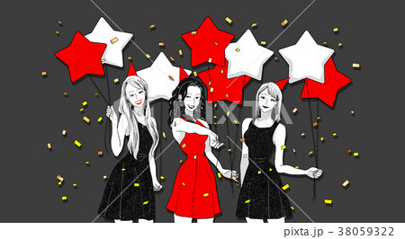 Christmas party concept with group of friends vector illustration 010 38059322