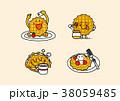 cartoon illustration, set of snack food theme 016 38059485